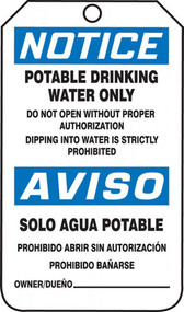 A photograph of a blue and white 11066 bilingual OSHA notice safety tag, reading potable drinking water only and solo aqua potable.