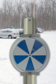 A photograph of a 11072 Icealert™ temperature indicator sign installed outside in cold climate.