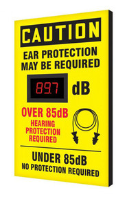 """A photograph of a yellow and black 11106 OSHA caution industrial decibel meter sign, reading ear protection may be required - over 85 db hearing protection required, with dimensions 20"""" x 12""""."""