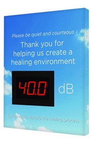 """A photograph of a blue 11109 healthcare decibel meter sign, reading please be quiet and courteous, with clouds graphic, and dimensions 12"""" x 10""""."""