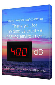 "Healthcare Decibel Meter Sign: Please Be Quiet And Courteous w/Sunset 12""x10"""