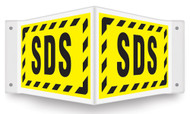V-shaped yellow sign with black SDS and bashed black border printed on both faces.