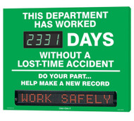A photograph of a 06391 Digi-Day® 3 moving message electronic scoreboard, reading this department has worked ____ days without a lost-time accident - do your part...help make a new record.