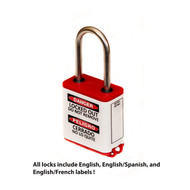"""A photograph of a bilingual 07026 Zing 800 solid aluminum, plastic-encased safety padlock, with 1.5"""" shackle."""