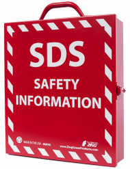 Photograph of the Zing SDS safety information recycled stainless steel document case.