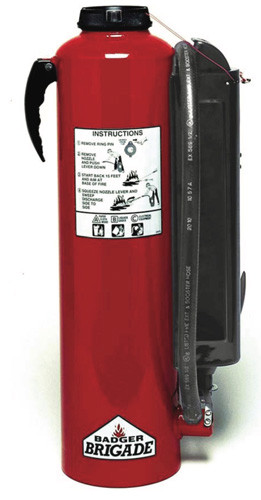 A photograph of a 10 pound, standard flow, Badger Brigade B-10-PK cartridge operated fire extinguisher.