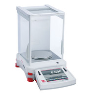 Photograph of Ohaus Explorer® Precision Balance, right facing, with draft shield closed.