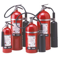 A group photograph (left to right) of Badger 5, 15, 10 and 20 pound CO2 extinguishers.