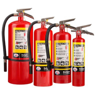 A group photograph of (left to right) Badger Extra 20, 10, 5, and 2.5 pound multipurpose dry chemical fire extinguishers.
