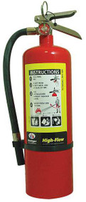 A photograph of a Badger Extra 10 pound multipurpose high-flow dry chemical fire extinguisher.