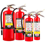 A group photograph of (left to right) Badger Standard 20, 10, 5, and 2.5 pound multipurpose dry chemical fire extinguishers.