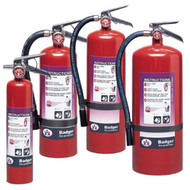A group photograph of (left to right) Badger 2.5, 5, 10, and 20 pound Extra Purple K Dry Chemical Fire Extinguishers.