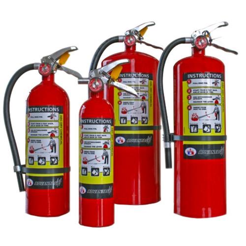 Badger Advantage 2.5 lb, 5.5 lb, 10 lb, and 18 lb ABC multipurpose dry chemical fire extinguishers.