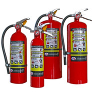 A group photograph (left to right) of Badger Advantage 5, 2.5, 10, and 20 pound ABC multipurpose dry chemical fire extinguishers.