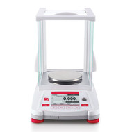 Photograph of Ohaus Adventurer® Precision Balance with draft shield closed, front facing.