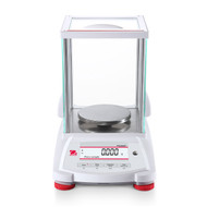 Photograph of Ohaus Pioneer® Precision Balance with draft shield, front facing.
