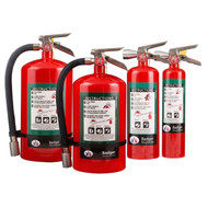 A group photograph of (left to right) 11.5, 15.5, 5, and 2.5 pound Badger  Extra Halotron- I Fire Extinguishers.