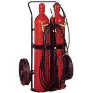 A photograph of a dual cylinder Badger CD100-2 Carbon Dioxide 100 pound Wheeled Fire Extinguisher.