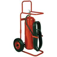 A photograph of a Badger 50MB ABC dry chemical stored pressure 50 pound wheeled fire extinguisher.