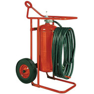A photograph of a Badger 150MB ABC dry chemical stored pressure 125 pound wheeled fire extinguisher.