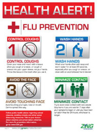 A photograph of a red and white 11012 Zing eco health alert flu prevention safety poster with instructions and graphics.