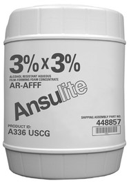 A  photograph of 50037 Ansulite® A336 USCG 3% x 3% AR-AFFF Concentrate, in a 5 gallon (19 liter) pail.