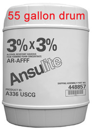 A  photograph of 50038 Ansulite® A336 USCG 3% x 3% AR-AFFF Concentrate, in a 55 gallon (208 liter) drum.
