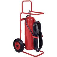 A photograph of a Badger 50PB Purple-K BC dry chemical stored pressure 50 pound wheeled fire extinguisher.