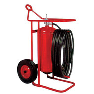 A photograph of a Badger 150PB Purple-K BC Dry Chemical Stored Pressure 125 pound Wheeled Fire Extinguisher.