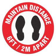 Anti-Slip Safety Floor Marker, Maintain Distance 6 Ft / 2M Apart
