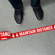 "Printed Warning Floor Tape, Maintain Distance w/ Person Icon, 2.25"" x 54'"