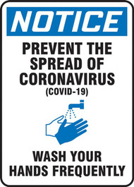 A photograph of a blue and white 03449 Covid-19 prevent the spread of the coronavirus (COVID-19) wash your hands frequently OSHA notice sign.