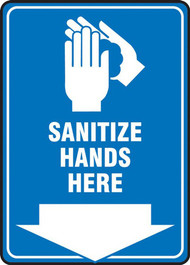 A photograph of a blue and white 03444 sanitize hands here safety sign, with icon and down arrow.