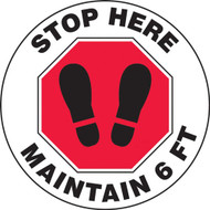 Social Distance Floor Signs, Stop Here Maintain 6 Ft w/ Red Stop Sign and Footprints Icons