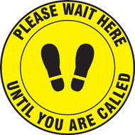 Social Distance Floor Signs, Wait Here Until Called To Step Forward w/ Footprints Icon, Yellow