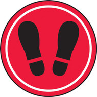 Social Distance Floor Signs, Black Footprints on Red Background