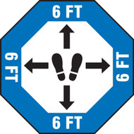 Social Distance Floor Signs, 6 Ft Octagon w/ Footprints Icon and Directional Arrows, Blue