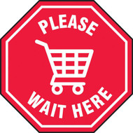 Social Distance Floor Signs, Please Wait Here w/ Shopping Cart Icon, Red