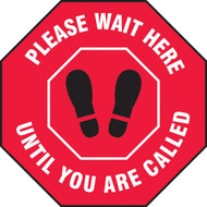 Social Distance Floor Signs, Please Wait Here Until You Are Called w/ Footprints Icon, Red