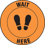 Social Distance Floor Signs, Wait Here w/ Footprints Icon, Orange