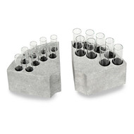 Photograph of various Sectional Test Tube Blocks for Ohaus Guardian Hotplate Stirrers holding test tubes (not included).