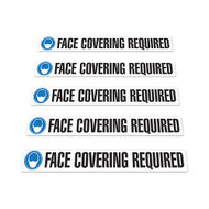 "Face Covering Required w/ Mask Icon Anti-Slip Floor Signs, 3"" x 24"", 5/pkg"