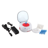 Photograph of Ohaus Frontier™ 5000 Mini Centrifuge standard package which includes two rotors and adapters.