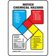 NFPA Chemical Hazard Notice Safety Sign w/Graphic