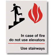 """Picture of the In Case of Fire Do Not Use Elevators Use Stairways Self-Adhesive Sign w/ Icons, 5.5"""" w x 7"""" h."""