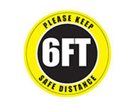 A photograph of a yellow and black 05407 removable social distance floor sign, reading please keep 6ft safe distance.