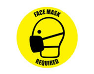 A photograph of a yellow and black 05400 removable social distance floor sign, reading face mask required, with person wearing mask graphic.