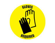 "Removable Social Distance Floor Sign: Gloves Required w/Glove Pair, 12"" Diameter, Yellow Black"