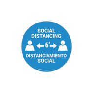 A photograph of the blue and white 05409 removable social distance floor sign, reading social distancing, distanciamiento social, with distancing diagram.