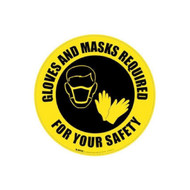 A photograph of the yellow and black 05410 removable social distance floor sign, reading gloves and masks required for your safety, with mask and gloves graphic.